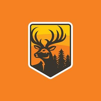 Modelo de vetor de design de logotipo de veado colorido
