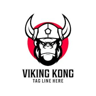 Modelo de vetor de design de logotipo de viking kingkong