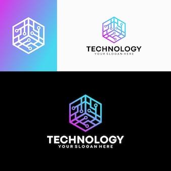 Modelo de vetor de design de logotipo moderno hexágono tecnologia