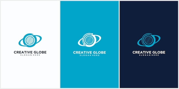 Modelo de vetor de design de logotipo planeta de tecnologia, estilo de espaço negativo de dados de planeta, vetor de modelo de design de tecnologia de logotipo de planeta