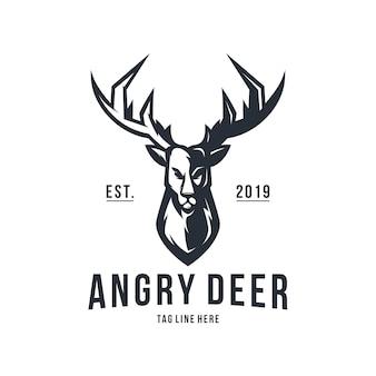 Modelo de vetor de design de logotipo vintage veado com raiva