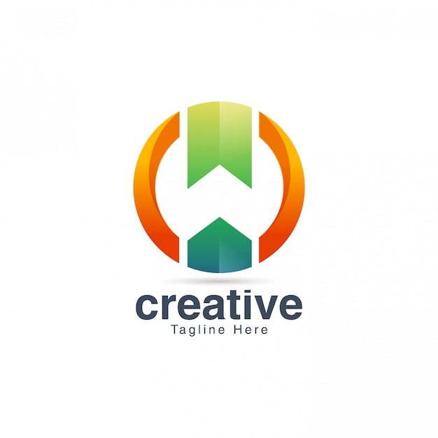 Modelo de vetor de design de logotipo w espaço negativo letra