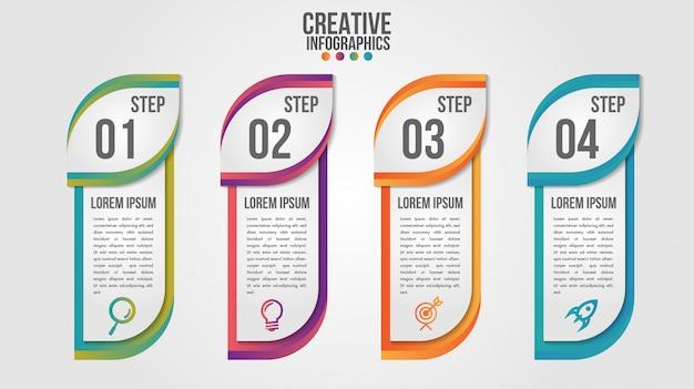 Modelo de vetor de design moderno cronograma infográfico para negócios com 4 etapas ou opções