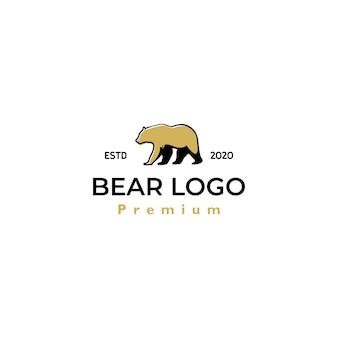 Modelo de vetor de design retro vintage de logotipo de urso