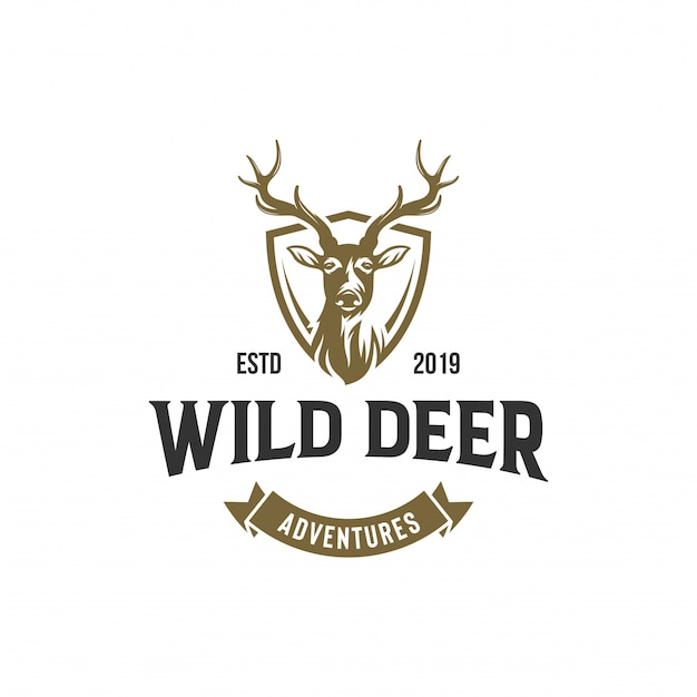 Modelo de vetor de design vintage logotipo veado selvagem