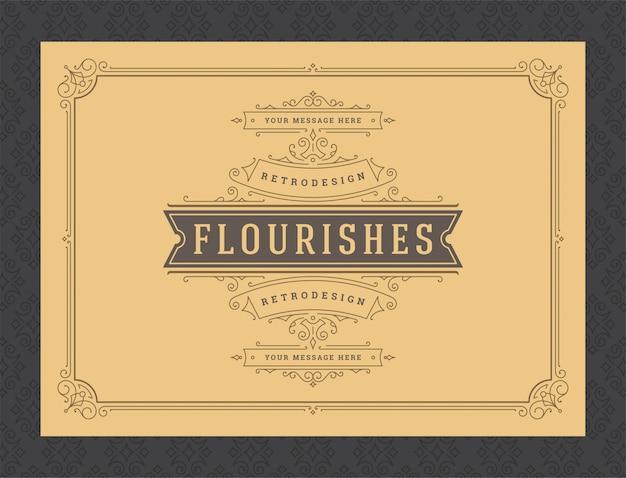 Modelo de vetor de design vintage ornamento cartão caligráfico vinhetas ornamentadas quadro