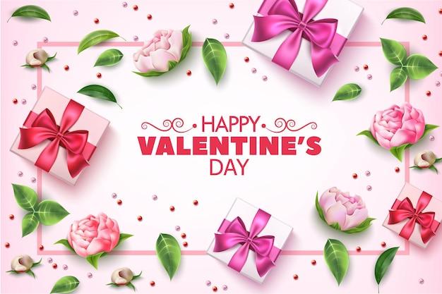 Modelo de vetor de dia dos namorados com elegantes flores rosas e caixas de presentes com doces