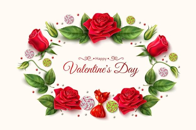 Modelo de vetor de dia dos namorados com um elegante buquê de botões de flores rosas com doces