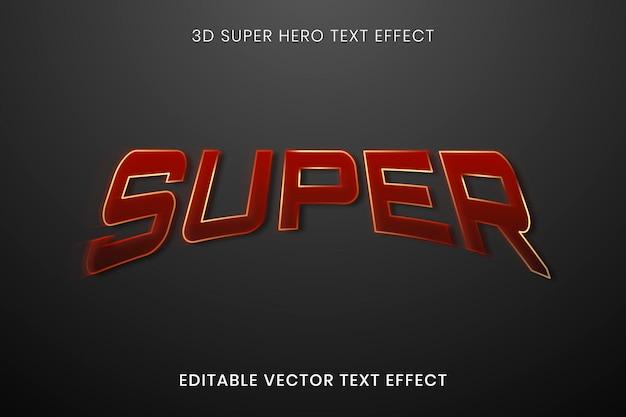Modelo de vetor de efeito de texto 3d, tipografia editável de super-herói de alta qualidade