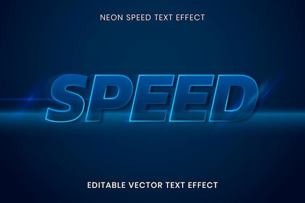 Modelo de vetor de efeito de texto neon, modelo de alta qualidade de velocidade