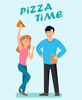 Modelo de vetor de folheto de publicidade de tempo de pizza