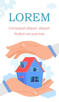 Modelo de vetor de folheto de serviço de seguro em casa