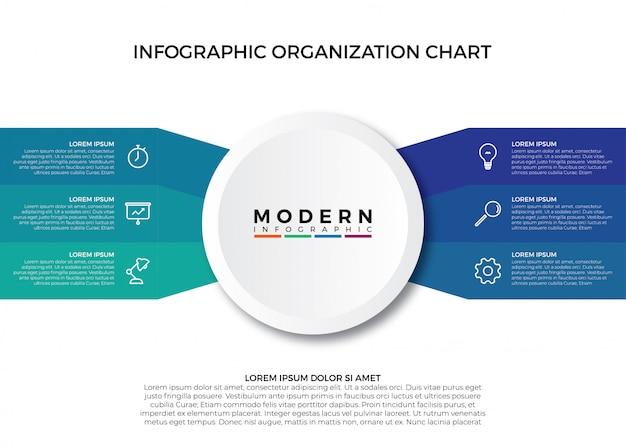 Modelo de vetor de gráfico de organização infográfico