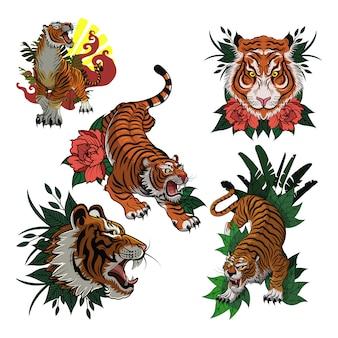 Modelo de vetor de ícone colorido de coleção de tigre