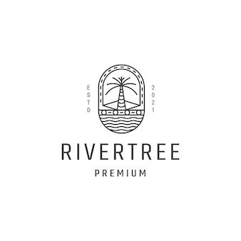Modelo de vetor de ícone de logotipo de aventura de árvore de rio