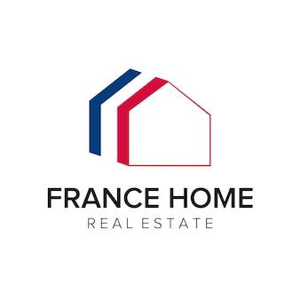 Modelo de vetor de ícone de logotipo de casa frança