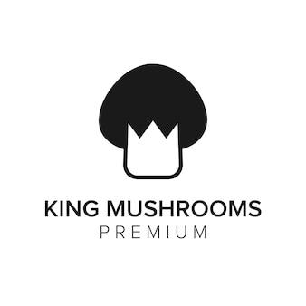 Modelo de vetor de ícone de logotipo de cogumelos rei