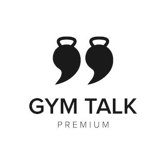 Modelo de vetor de ícone de logotipo de conversa de ginásio