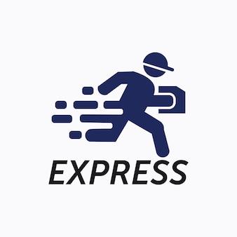 Modelo de vetor de ícone de logotipo de entrega expressa com homem em execução rápida