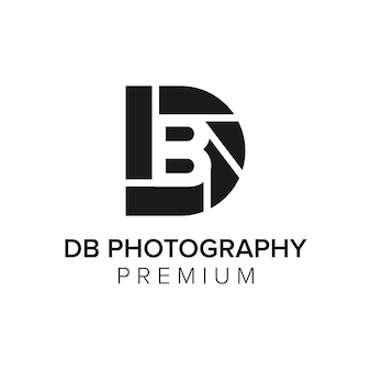 Modelo de vetor de ícone de logotipo de fotografia db