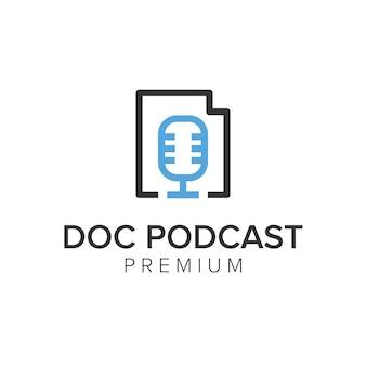 Modelo de vetor de ícone de logotipo de podcast doc
