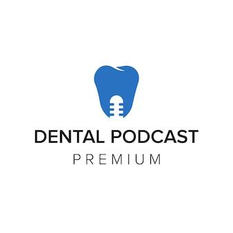Modelo de vetor de ícone de logotipo de podcast odontológico
