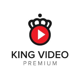 Modelo de vetor de ícone de logotipo de vídeo rei