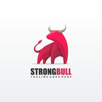 Modelo de vetor de ilustração de bull forte
