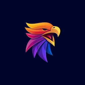 Modelo de vetor de ilustração de design colorido de águia