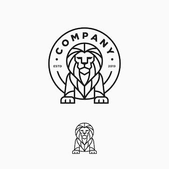 Modelo de vetor de ilustração de design de arte de linha de leão