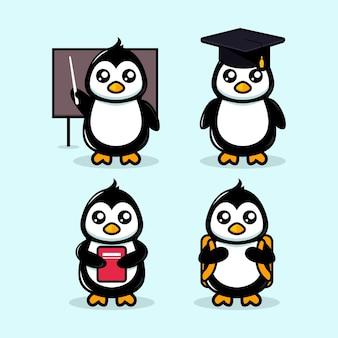 Modelo de vetor de ilustração de design de tema de escola de mascote bonito de pinguim