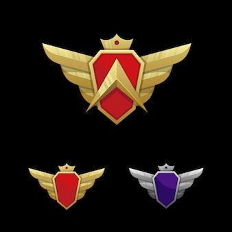 Modelo de vetor de ilustração de emblema de asa