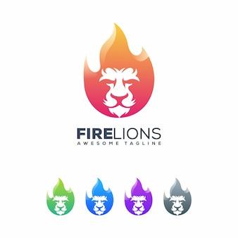 Modelo de vetor de ilustração de fogo de leões