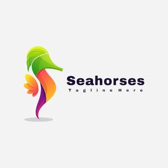 Modelo de vetor de ilustração de logotipo de cavalos-marinhos coloridos