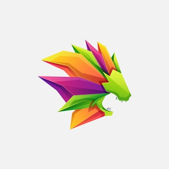Modelo de vetor de ilustração de logotipo de leão colorido