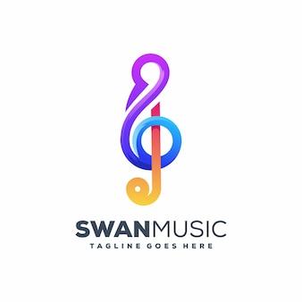 Modelo de vetor de ilustração de música cisne