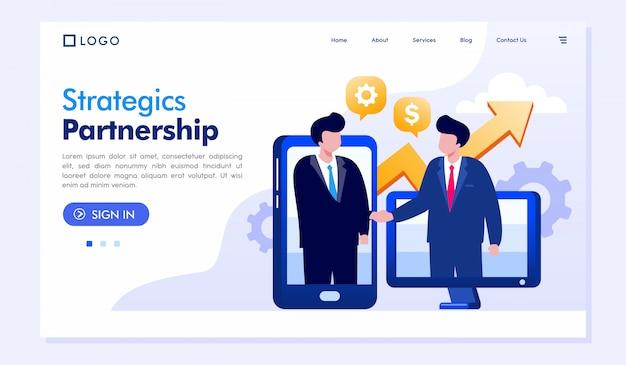 Modelo de vetor de ilustração de página de destino de parceria estratégica