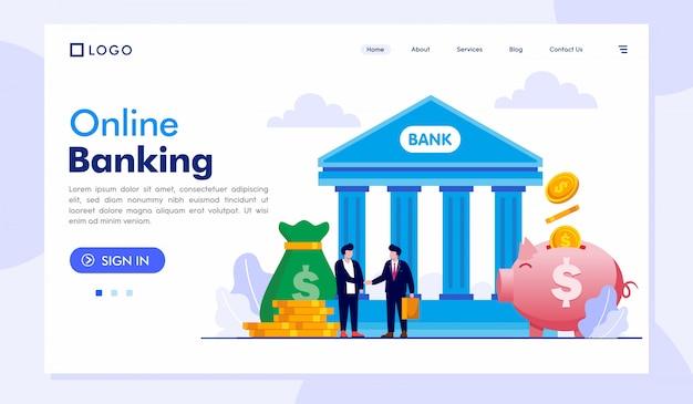 Modelo de vetor de ilustração de site de página de destino de banco on-line