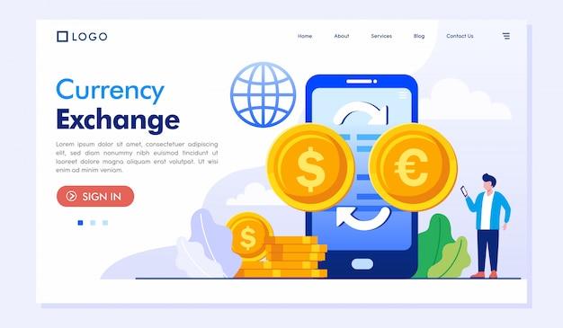 Modelo de vetor de ilustração de site de página de destino de câmbio de moeda