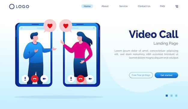 Modelo de vetor de ilustração de site de página de destino de chamada de vídeo