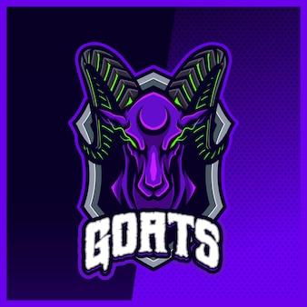 Modelo de vetor de ilustrações de design de logotipo de mascote goat ram sheep, logotipo de áries para discórdia de banner de streamer de jogo de equipe
