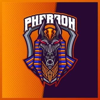 Modelo de vetor de ilustrações de design de logotipo do mascote horus god eagle, logotipo do falcon egypt para flâmula de jogo de equipe youtuber banner twitch discord, estilo cartoon em cores