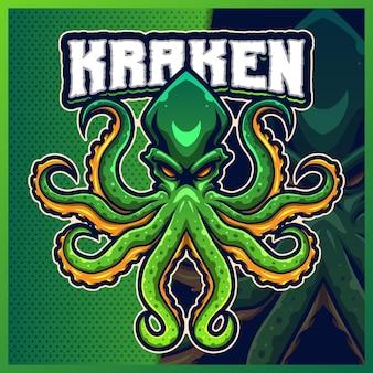 Modelo de vetor de ilustrações de design de logotipo kraken monster mascote esport, logotipo cthulhu para flâmula de jogo de equipe youtuber banner twitch discord