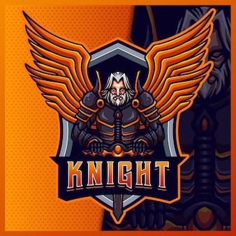 Modelo de vetor de ilustrações de design de logotipo mascote knight warrior wing, logotipo tiger para flâmula de jogo de equipe youtuber banner twitch discord