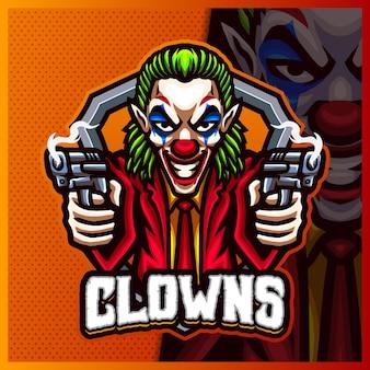 Modelo de vetor de ilustrações de design de logotipo mascote shooter clown, logotipo joker para flâmula de jogo de equipe youtuber banner twitch discord