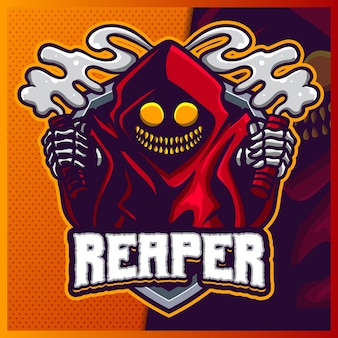Modelo de vetor de ilustrações de design do logotipo do mascote do grim reaper hood, devil with flare logo para flare de jogo de equipe youtuber banner twitch discord
