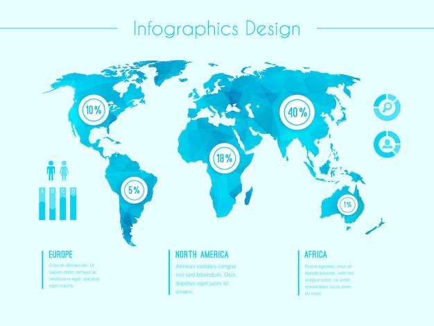 Modelo de vetor de infográfico de mapa mundial mostrando as áreas demográficas europa américa do norte áfrica com porcentagens proporcionais de estatísticas e colunas de texto em azul
