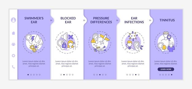Modelo de vetor de integração de condições auditivas comuns. site móvel responsivo com ícones. página da web com telas de 5 etapas. orelha de nadador, conceito de cor de diferença de pressão com ilustrações lineares