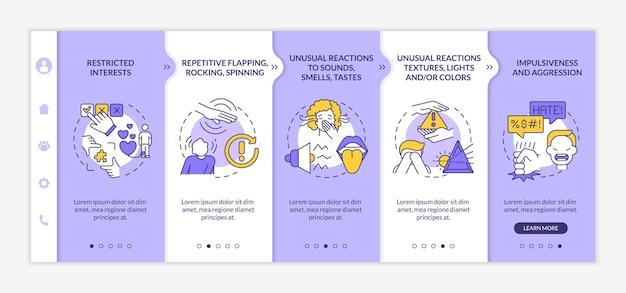 Modelo de vetor de integração de diagnóstico de autismo. site móvel responsivo com ícones. página da web com telas de 5 etapas. movimentos repetitivos, conceito de cores de impulsividade com ilustrações lineares
