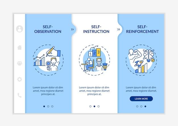 Modelo de vetor de integração de dicas de estratégias de autocontrole. site móvel responsivo com ícones. passo a passo da página da web em telas de 3 etapas. conceito de cores de gerenciamento de estresse com ilustrações lineares